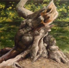 """Old Stump - Crabapple"" - oil - 4""x 4""    Entirely plein air, Brooklyn Botanic Garden"