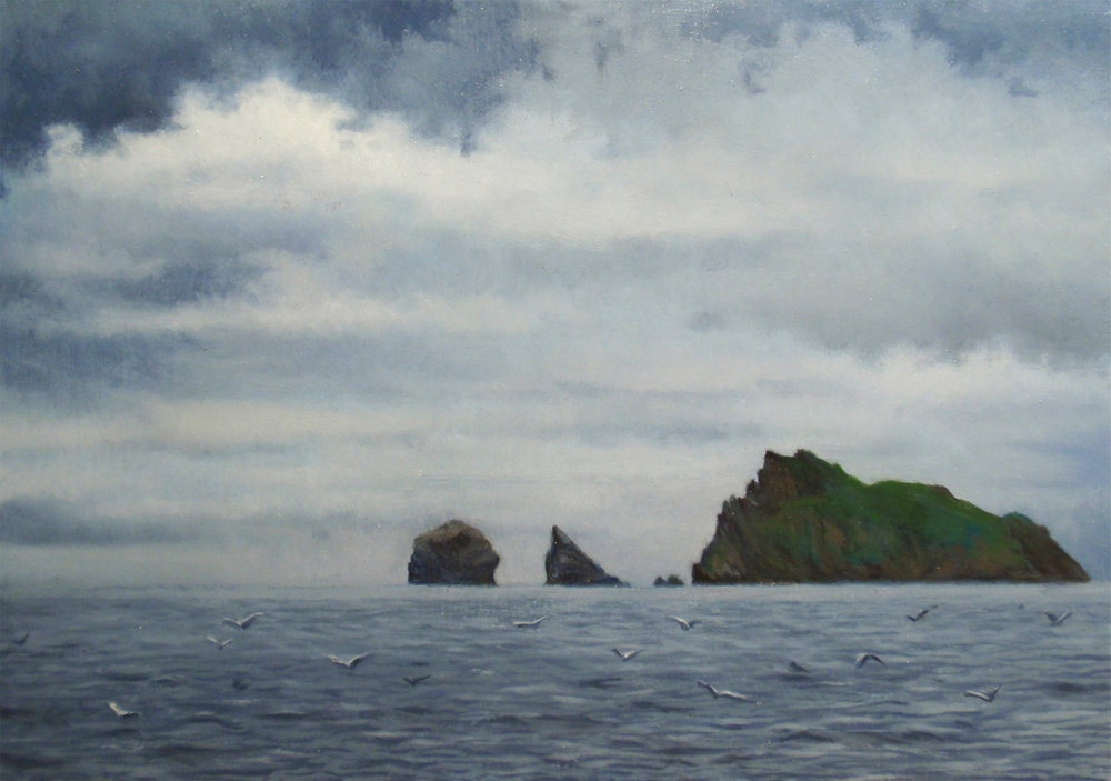 """The Stacs, St. Kilda""   Oil  5"" x 7"""