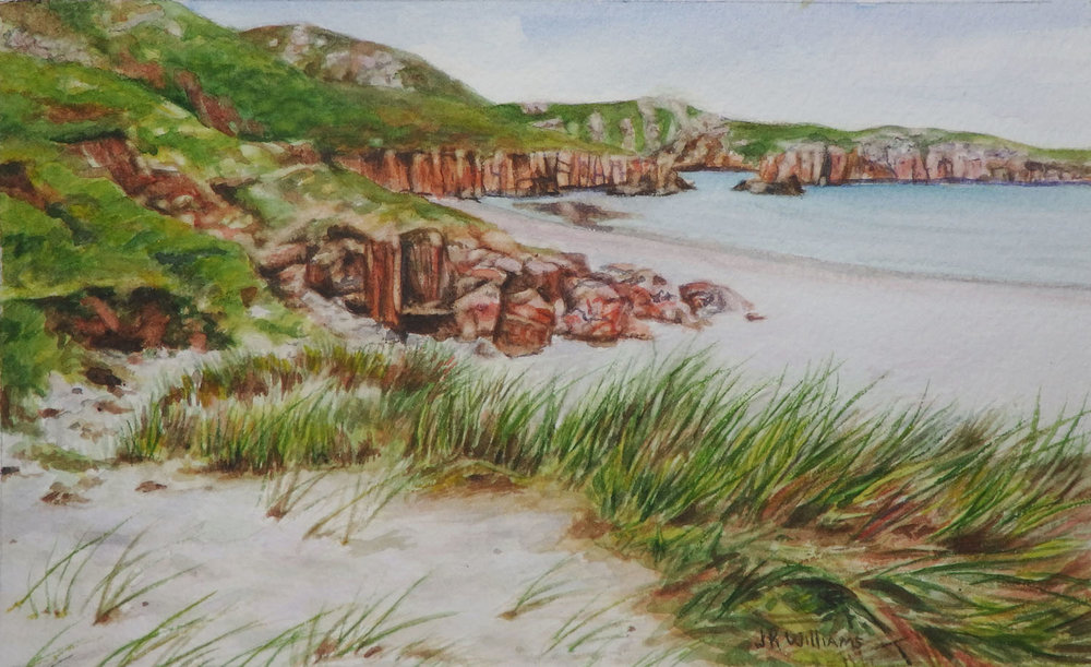 """ Sutherland Beach""   Watercolor    5 1/6 "" x  8 1/8"""