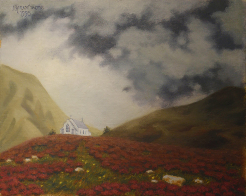 """Highland Church, Storm Approaching""   Oil  8""x 10"""