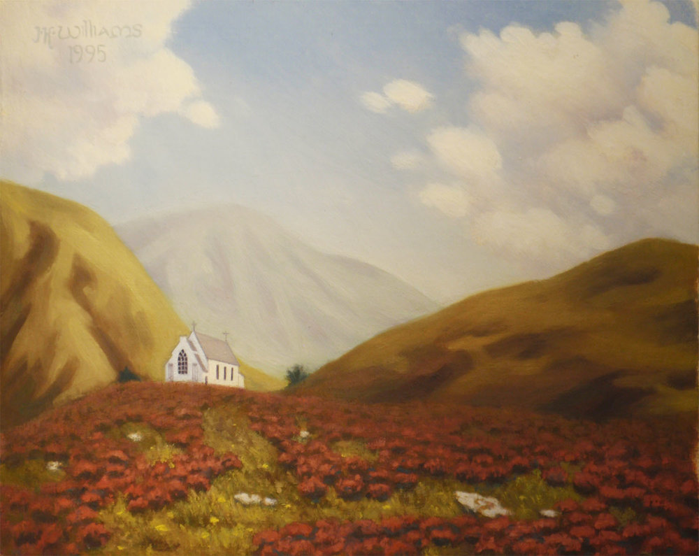 """Highland Church, Fair Weather""   Oil  8""x 10"""