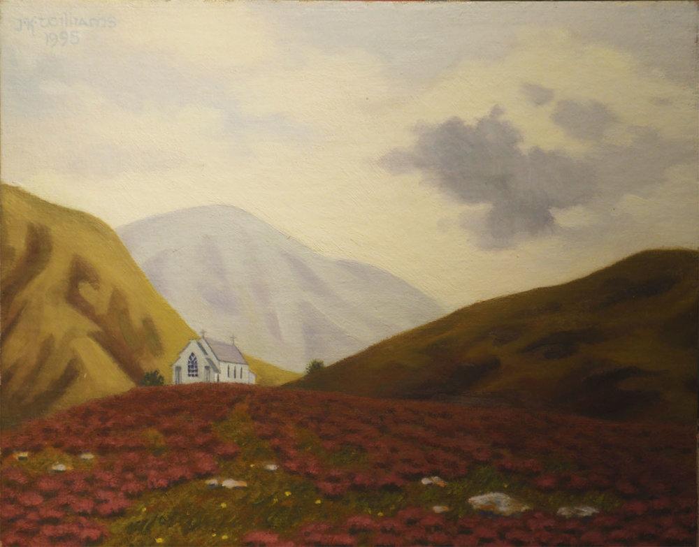 """Highland Church, Evening""  Oil 8"" x 10"""