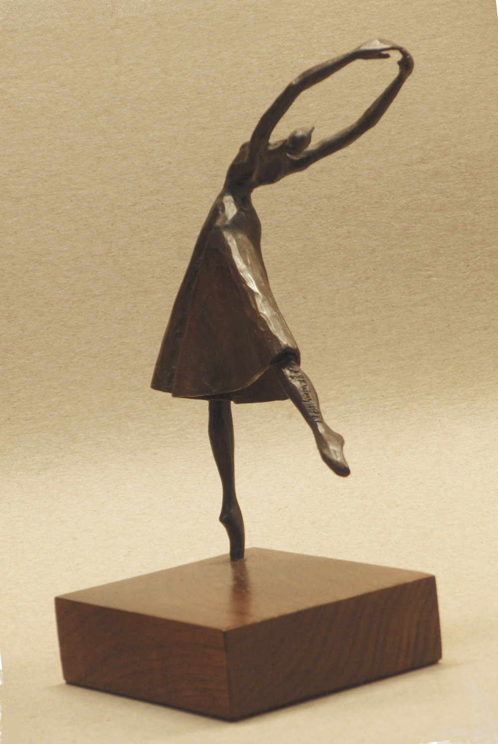"""Back Bend Arabesque""   Bronze and walnut  7 1/2  x 5 1/4  x 4"""