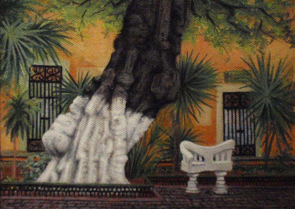 """""""Conversation Bench, Santa Lucia Park""""  Oil 5""""x 7"""""""