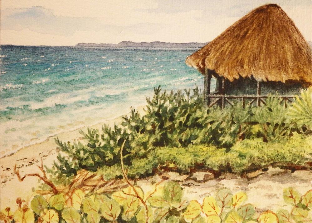 """Beach at CeSiak, Quintana Roo""  Watercolor 5""x 7"""