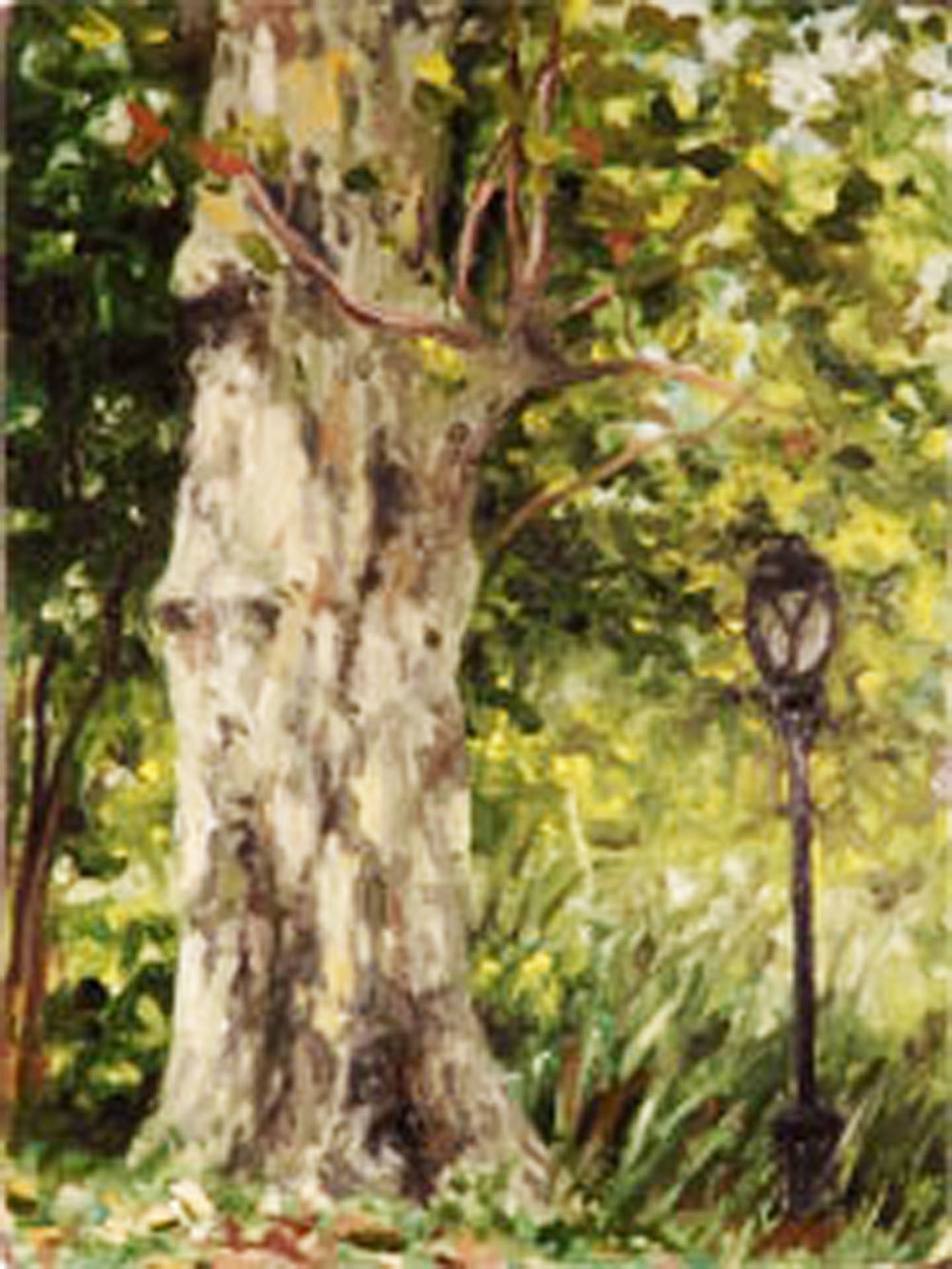 """""""Lampost and Tree Near Tavern on the Green""""  Oil 4""""x 3"""""""