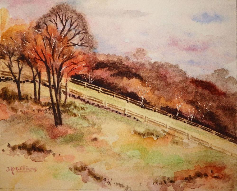 """Autumn Pastures""  Watercolor 4""x 5"""
