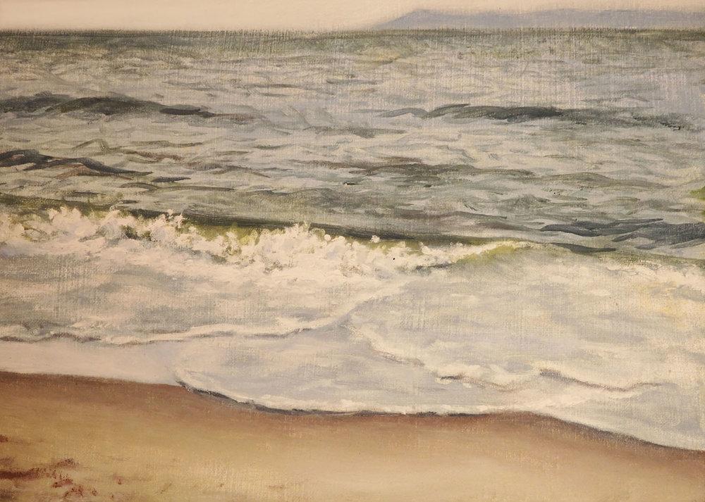 """""""Beach at Coney Island""""  Oil 5""""x 7"""""""