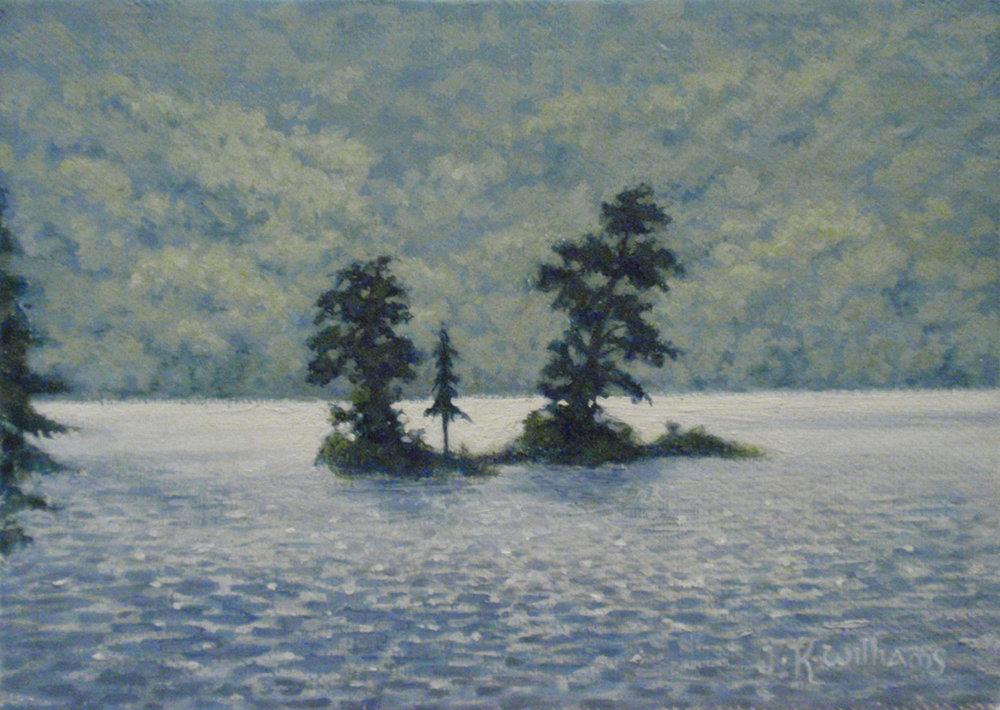 """Island in Lake George""  Oil 5""x 7"""