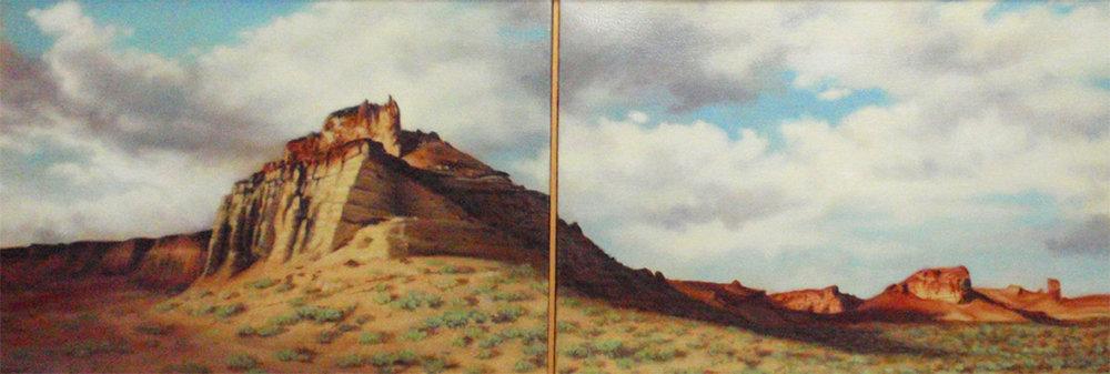 """""""Beside the Green River"""" Oil diptych 10"""" x 28"""""""