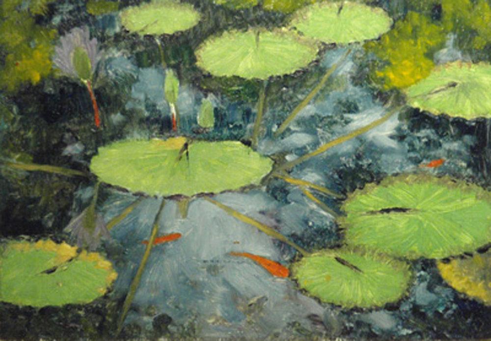 """Goldfish Pond""  Oil sketch 5""x 7"""