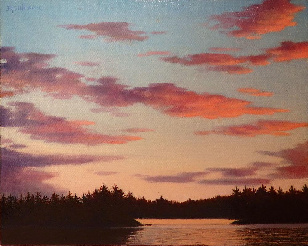 """""""Sunset, Upper St. Regis Lake, Adirondacks""""  Oil 8"""" x 9 7/8"""""""