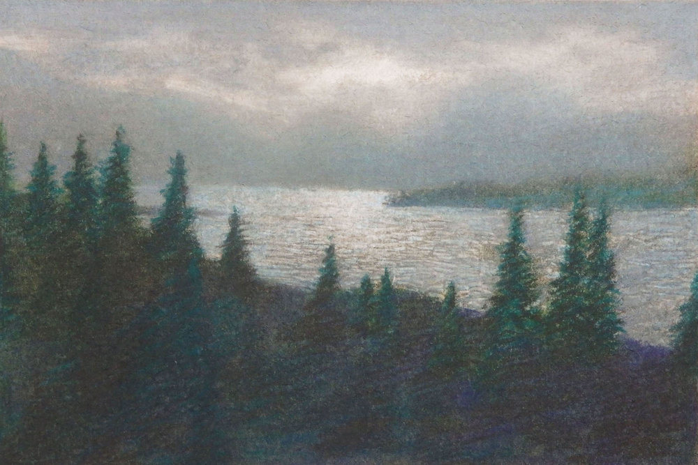 """Lake Jenny, Grand Tetons, Wyoming""  Monoprint 3 7/8"" x 5 7/8"""