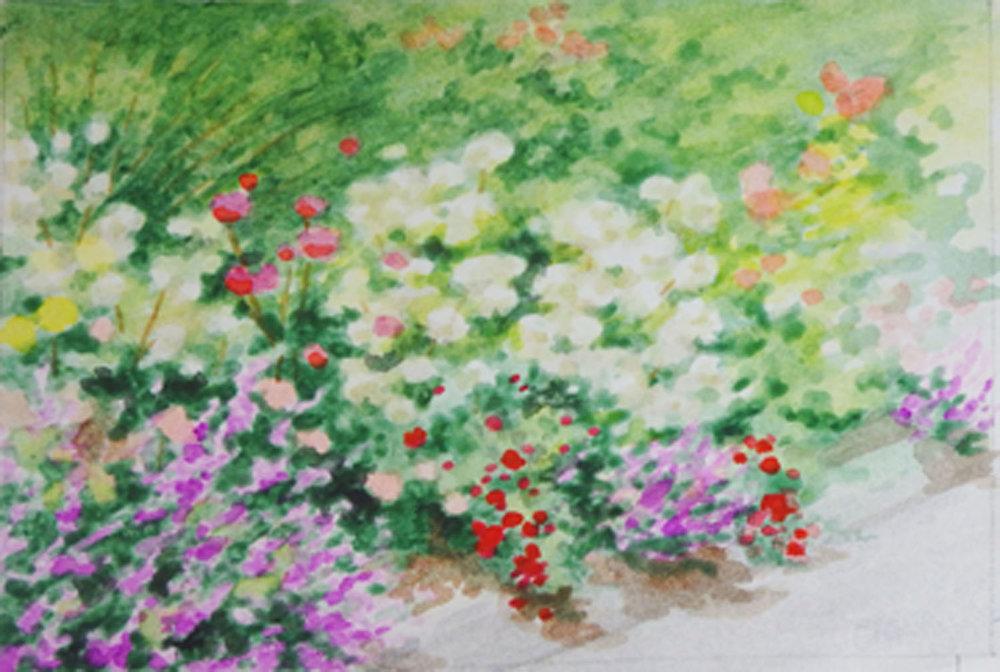 """""""Sidewalk Blooms""""  Watercolor sketch 4 1/8"""" x 6 1/8"""""""