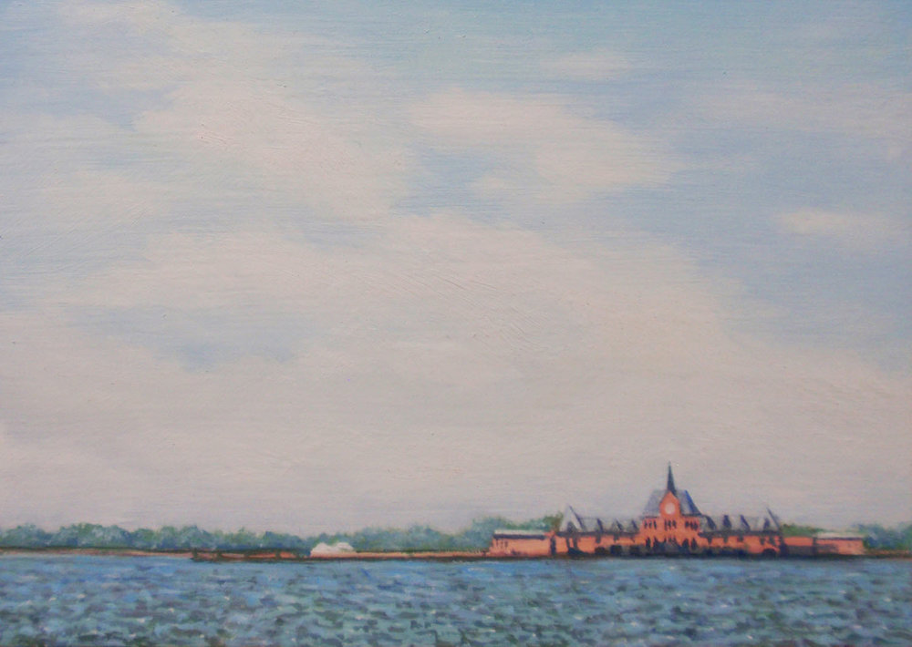 """""""Liberty State Park from Lower Manhattan""""  Oil 5""""x 7"""""""