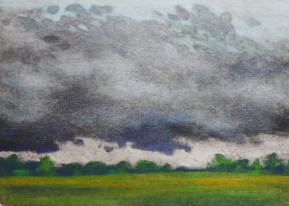 """The Coming Storm""  Monoprint 4 7/8"" x 6 7/8"""