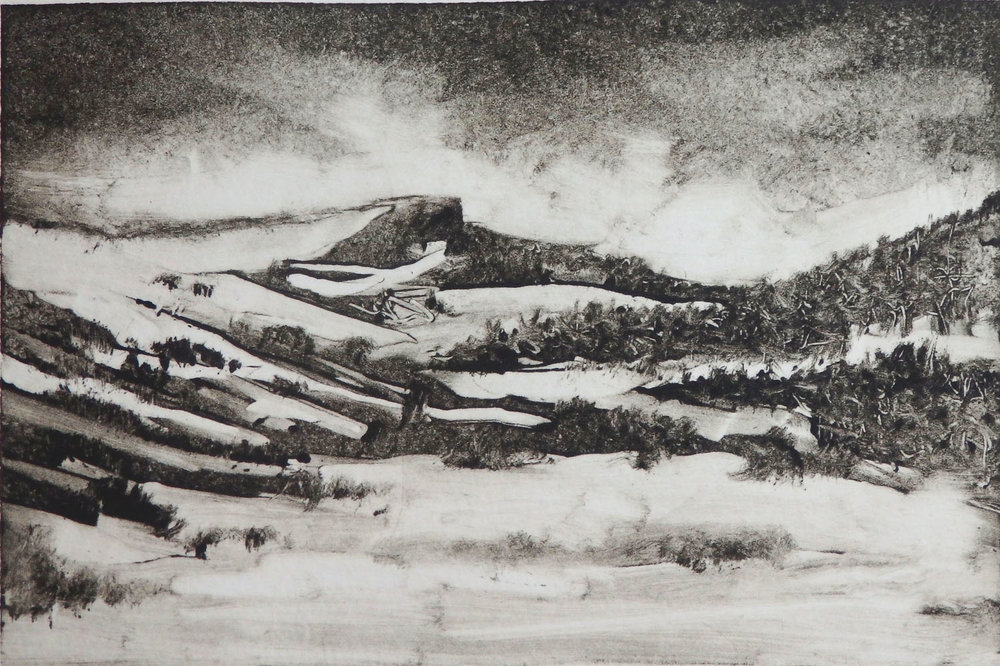 """""""The First Snow""""  Monotype 4"""" x 6"""""""