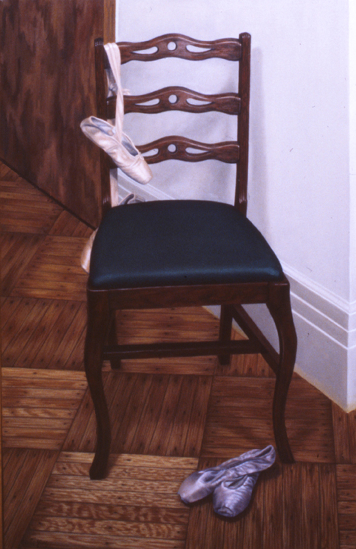 """Green-Seated Chair with Old Toe Shoes""   Oil  48""x 30"""