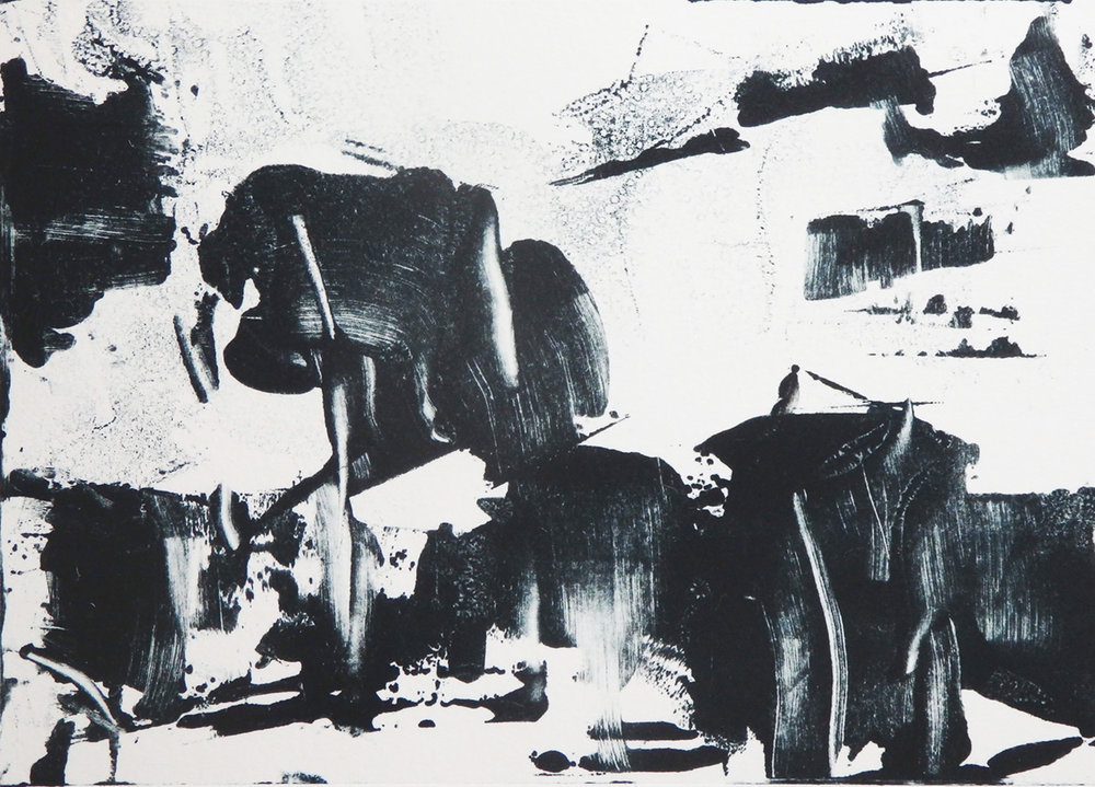 """Garbage Pickup""   Monotype    4 5/8""x 6 5/8"""