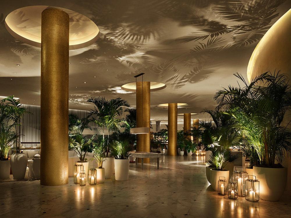 Lobby by Night. Courtesy of The Miami Beach EDITION .