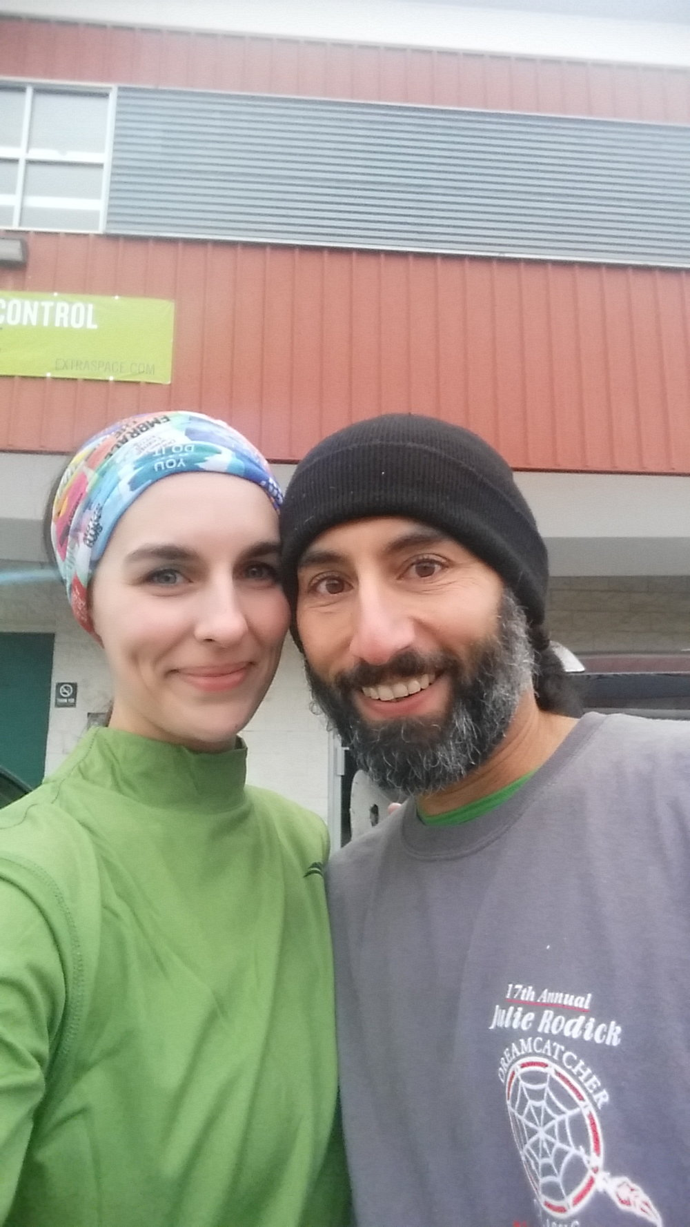 Post race photo at the Dreamcatch Classic 5 miler in 2016. We run this race everything Thanksgiving.