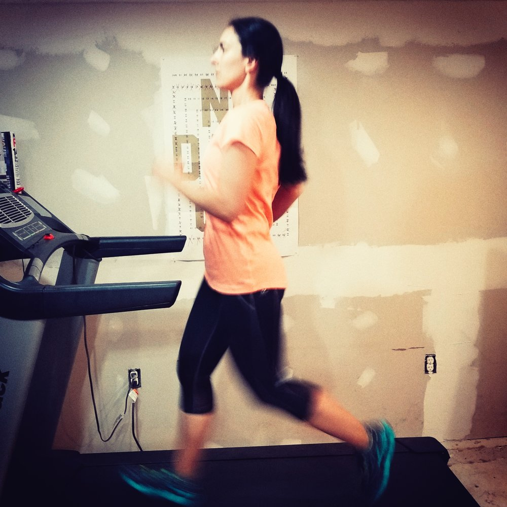 A really blurry picture of doing treadmill sprints after work today...it must be because I'm so fast ;)