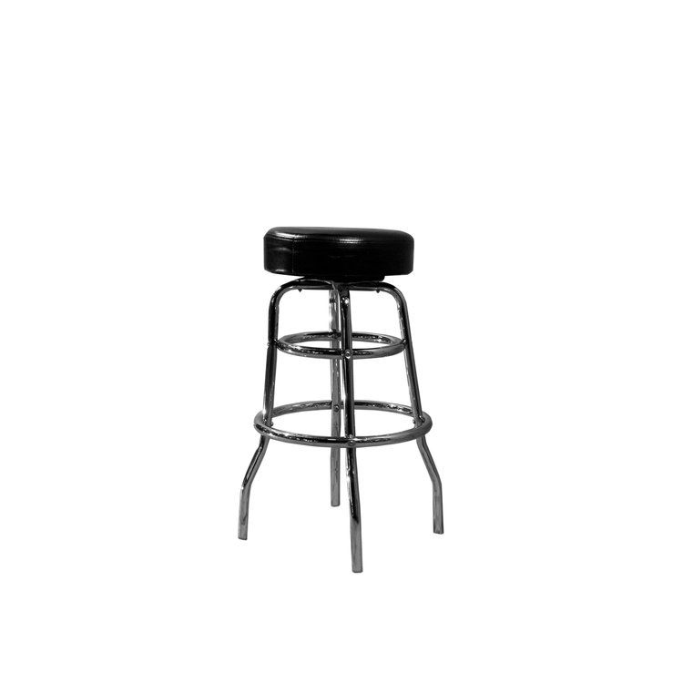 CHROME BARSTOOL - BLACK