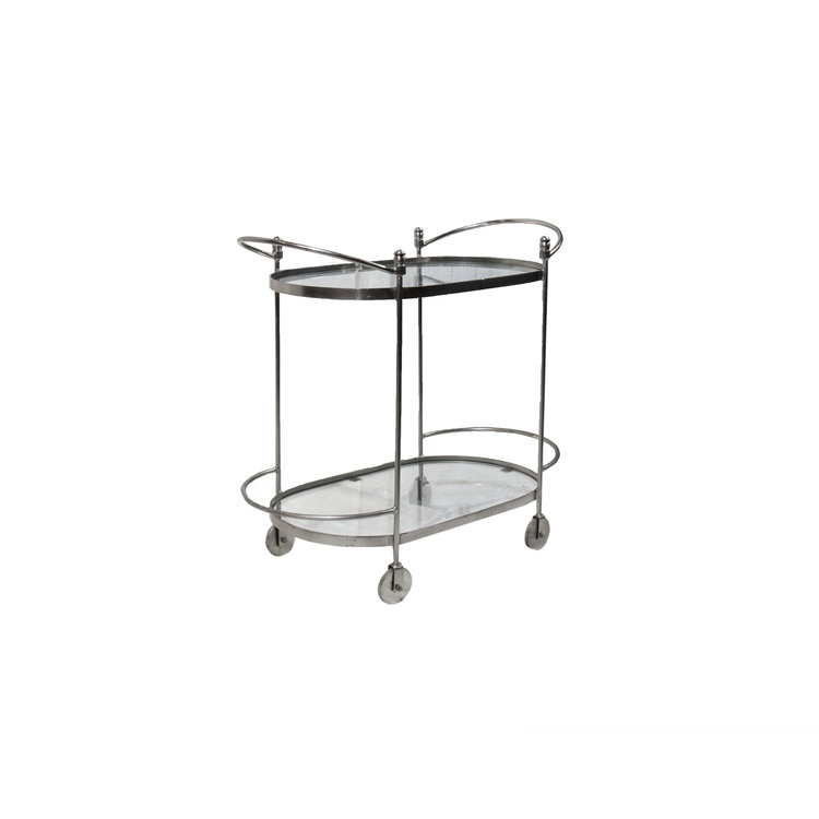 CHROME BAR CART W/GLASS