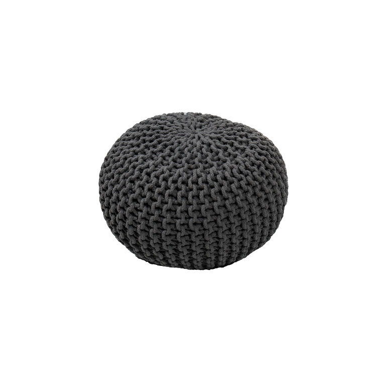 CABLE KNIT POUF - CHARCOAL