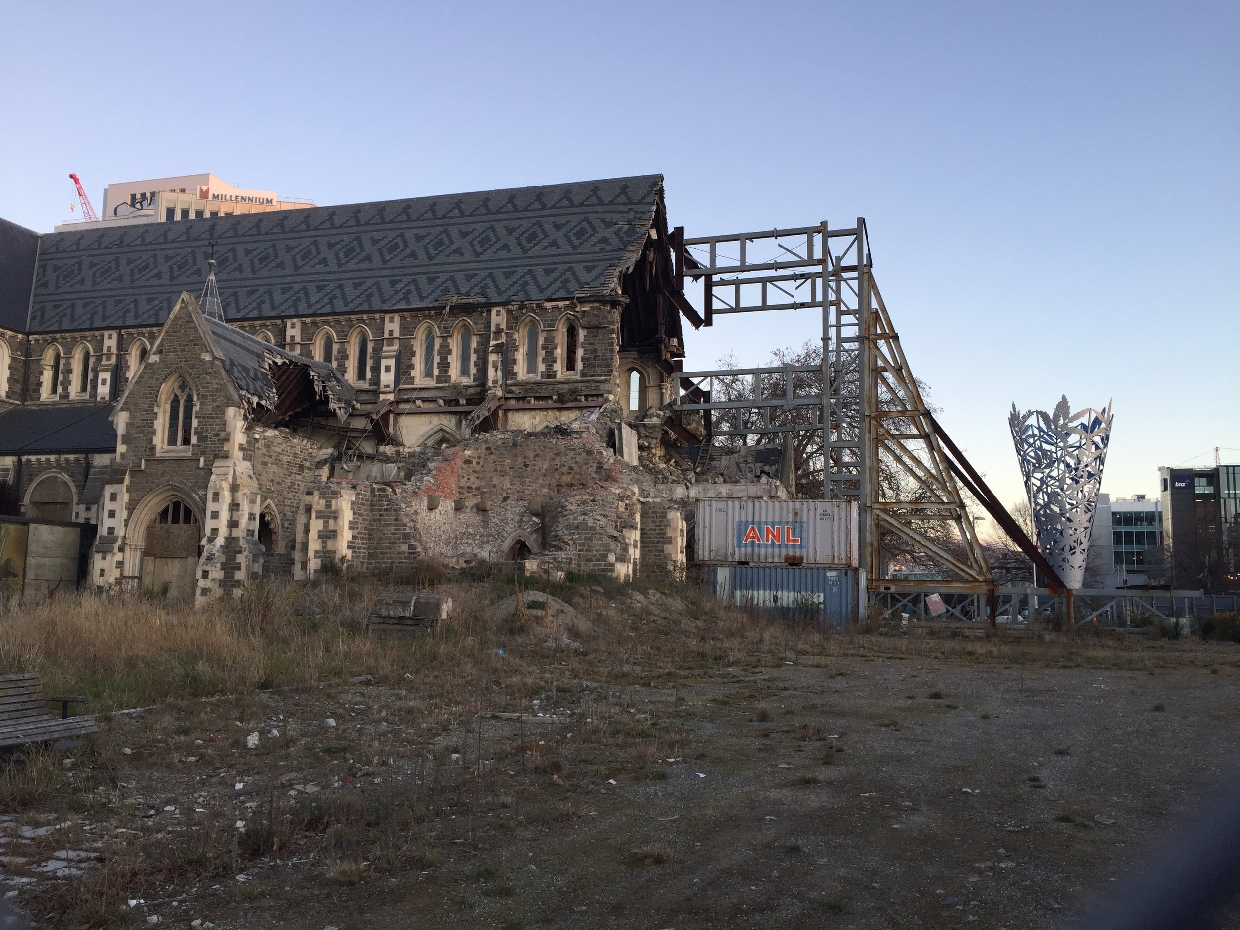 Christchurch cathedral being rebuilt