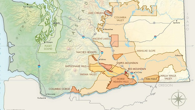 Washington State AVA Map courtesy of Washington State Wine.