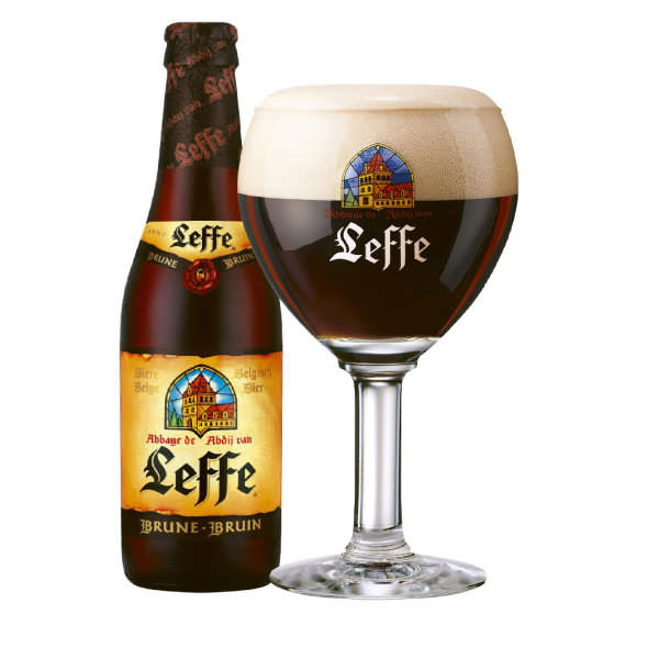 LEFFE BRUNE   6.5% abv   Leffe Brune contrasts the brown sugar sweetness of a roasted barley with a strong bitter taste. In the glass it's a rich, almost black beer served with a creamy head. With a coffee finish on the palate. It's the after dinner drink of beers.