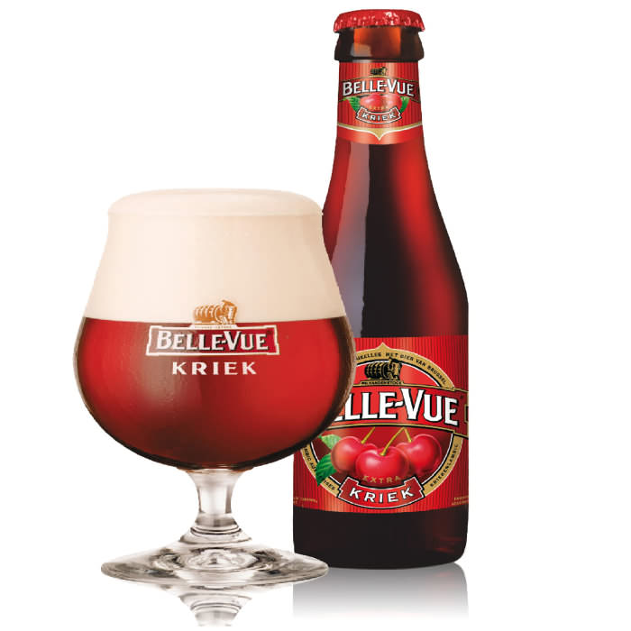 BELLE-VUE KRIEK   4.3% abv   This sweet, fruity brew is made by combining freshly picked sour cherries with Lambic. 'Kriek' refers to the taste of sour cherries. Try it as an aperitif or with chocolates.