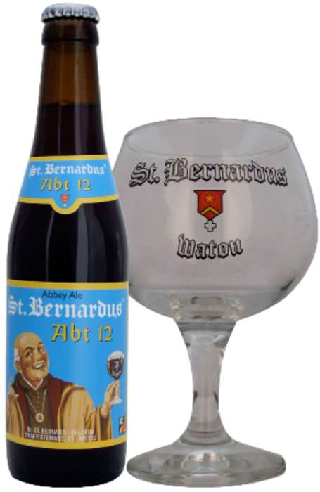 ST BERNARDUS   10.0% abv   A massive beer, unbelievably malty – as it should be! It has a lasting yeasty taste complimented by dried fruits and a great mouthfeel. Welcome to the dark side of good quality beer. This quadruple isn't for the fainthearted.