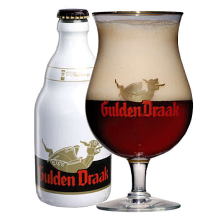GULDEN DRAAK   10.5% abv   Named after the golden dragon at the top of the belfry in Ghent, this dark tripel is strong in alcohol, with a powerful fragrance of barley, ripe plums and cherries. The palate hints at sour cherries and brown sugar and has a slightly bitter aftertaste.