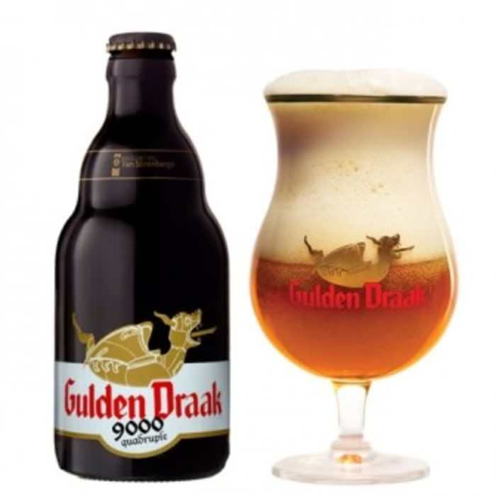 GULDEN DRAAK 9000   10.5% abv   The Gulden Draak's bigger, bolder brother! Containing 3 different kinds of malt added in a volume of 4 times the content in lager, this golden amber quadrupel packs quite a punch with a powerful fruity scent. Together, with the smooth and subtle sweet taste, it ensures this a wonderfully accomplished brew.