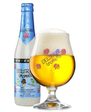 "DELIRIUM TREMENS   8.5% abv   This beer is lightly hopped & surprisingly malty. It uses three different yeasts & packaged in a bottle painted to resemble cologne ceramics & the label depicts the beers production. Delirium Tremens is Latin for ""trembling madness"""