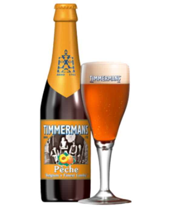 TIMMERMANS PECHE   4.0% abv   Peche lambic is obtained by adding 100% natural peach juice to the lambic resting in oak casks, which gives it a complex peach aroma. Savour this fruity beer with its creamy head in a champagne tulip.