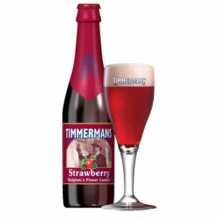 TIMMERMANS STRAWBERRY   4.0% abv   Its strawberry flavours are irresistible if you love strawberries! The perfect refreshment for a hot summer day.