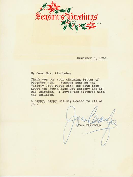 Joan Crawford visits, November 1955