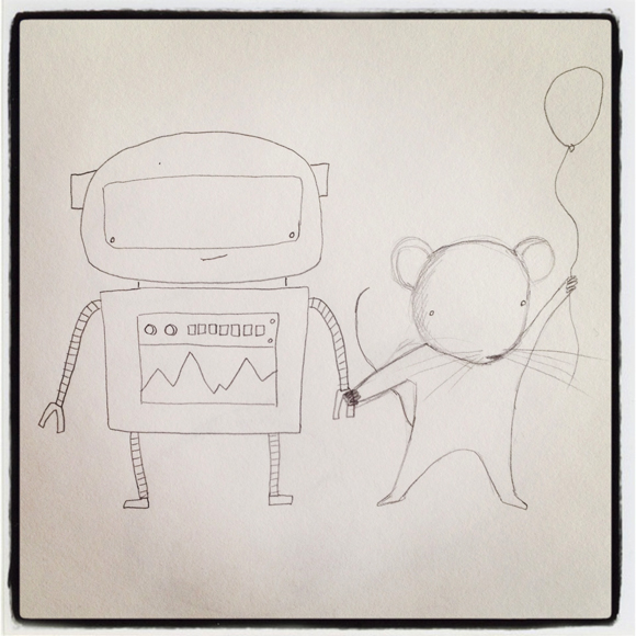 robot and mouse holding hands