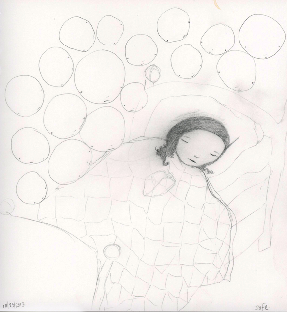 girl in bed with ghosts around her