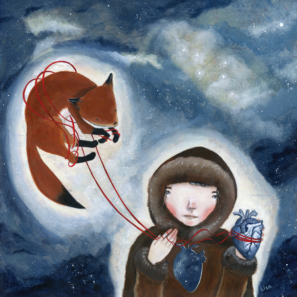 girl holding heart and strings attached to fox