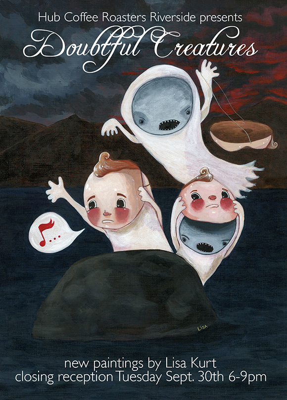Lisa Kurt's show Doubtful Creatures postcard 1
