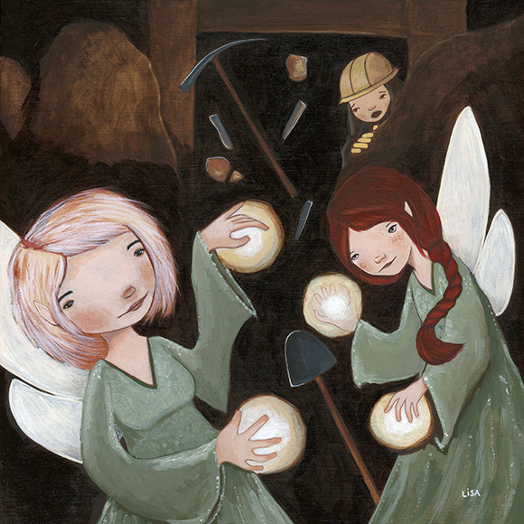 Lisa Kurt painting of Cornish fairies