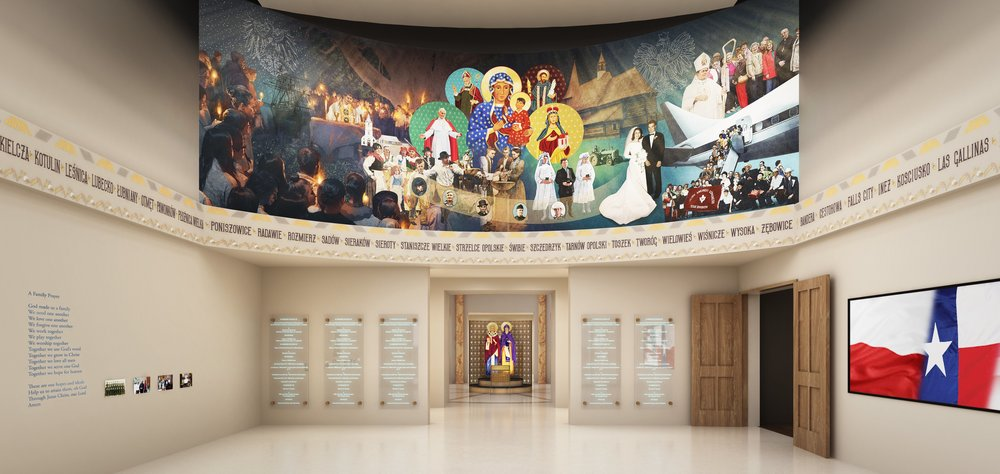 PHC Lobby Entry Area with Mural, Donor Wall & Texas & Polish Towns, etc..jpg