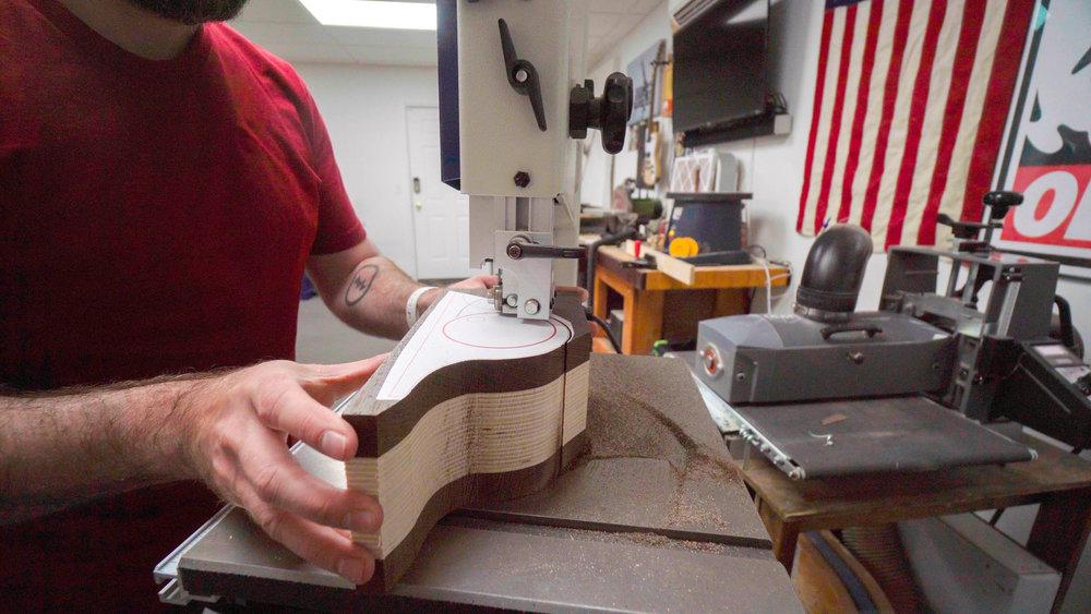 cutting bandsaw box blank