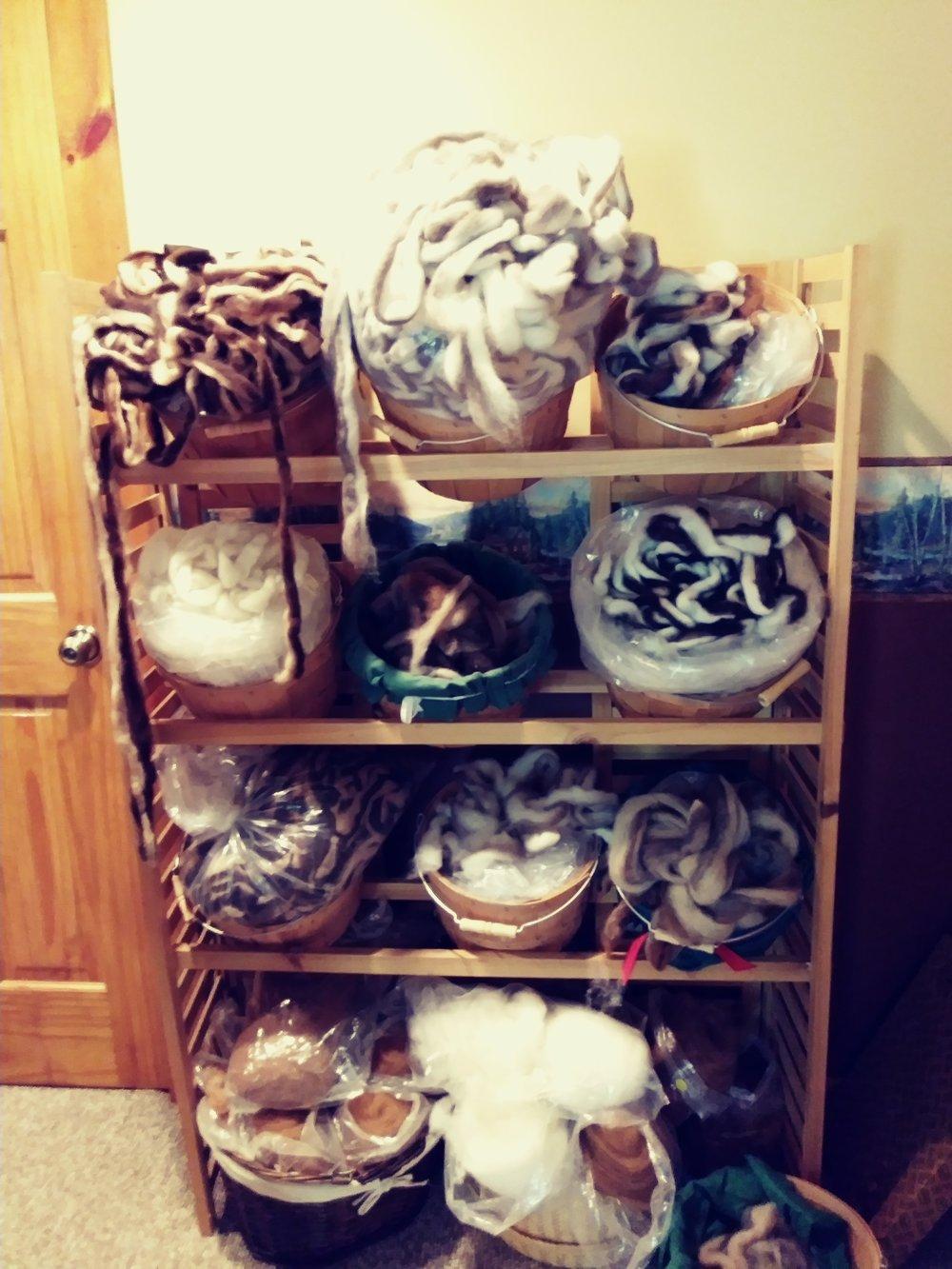 Baskets of Alpaca Roving