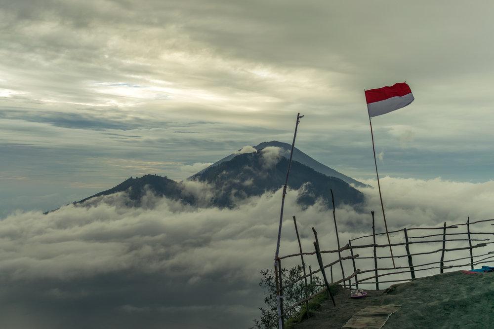 At the peak of Mount Batur