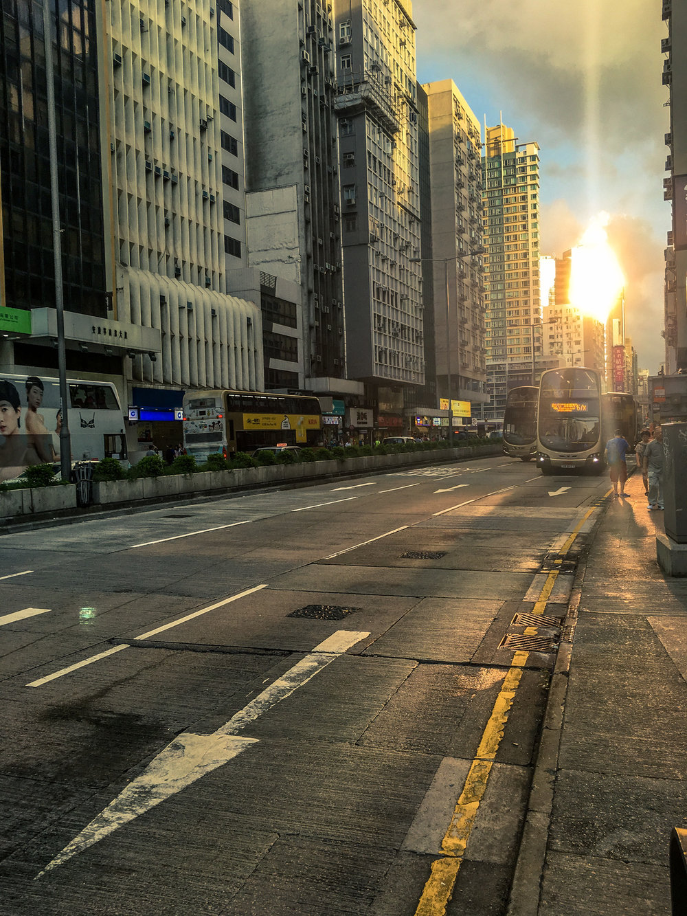 Streets of Hong Kong, featuring a few double decker buses